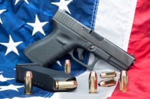 Pistol on flag