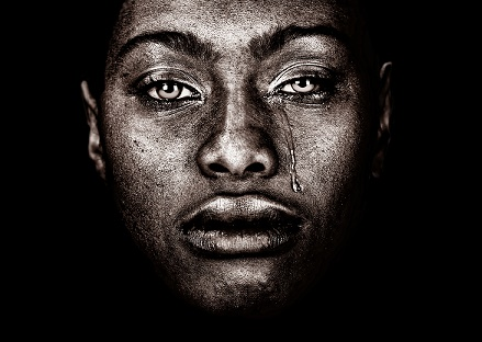 Very strong Image Of a afro American woman Crying isolated on B
