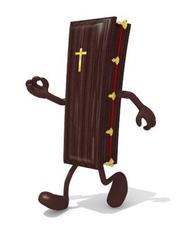 Coffin With Her Arms And Legs Walking